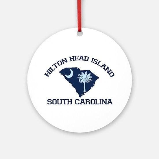 Hilton Head Island - Map Design Ornament (Round)