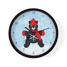 Snowflake Kitten Wall Clock