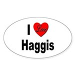 I Love Haggis Oval Sticker (10 pk)