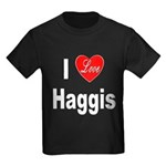 I Love Haggis (Front) Kids Dark T-Shirt
