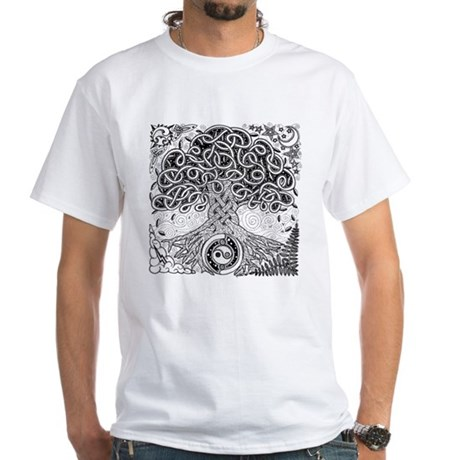 Celtic Tree of Life Ink White T-Shirt