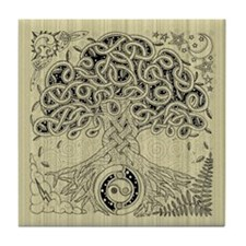 Celtic Tree of Life Ink Tile Coaster