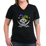 Mardi Gras Women's V-Neck Dark T-Shirt