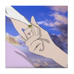 Luke and Zeldah - hands Tile Coaster