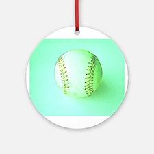 I Love Baseball Holiday Christmas Ornament (Round)