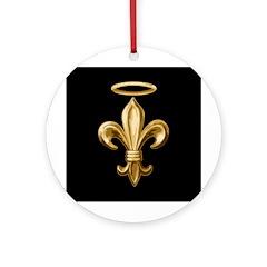 Gold Fleur de lis Talisman Ornament (Round)