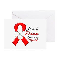 FlowerRibbonHeartDisease Greeting Cards (Pk of 10)