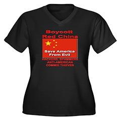 Boycott Red China Women's Plus Size V-Neck Dark T-