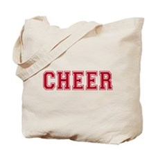 Cheer In Red Text Tote Bag