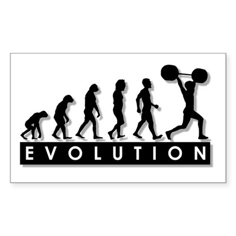 Evolution of Body Building Rectangle Sticker