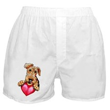 Airedale Holding Heart Boxer Shorts