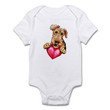 Airedale Holding Heart Infant Bodysuit