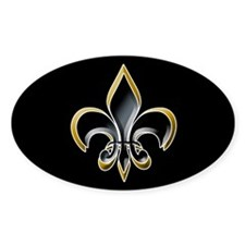 Fleur de Lis on BLK Oval Decal