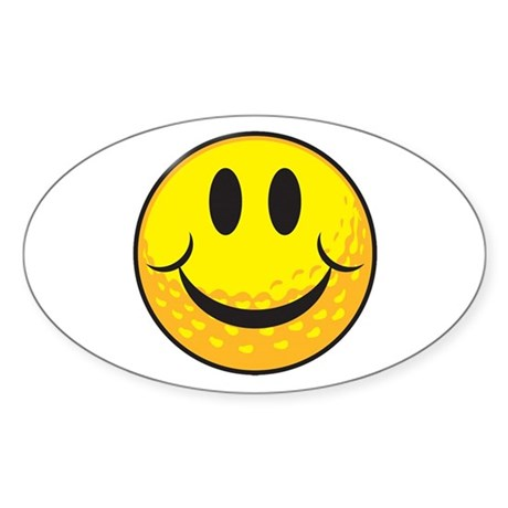 Golf Smilie Oval Sticker