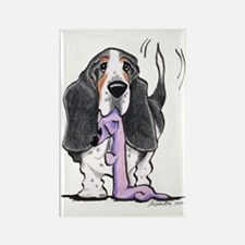 Tricolor Basset Playtime Rectangle Magnet (100 pac