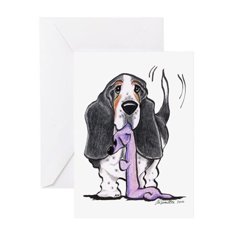 Tricolor Basset Playtime Greeting Card