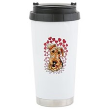 Airedale Terrier Hearts Travel Coffee Mug