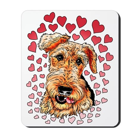 Airedale Terrier Hearts Mousepad