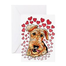 Airedale Terrier Hearts Greeting Card