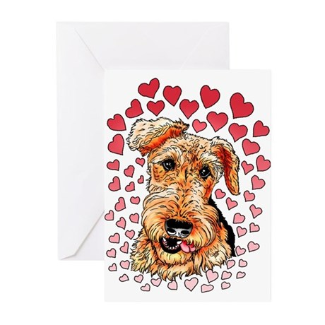 Airedale Terrier Hearts Greeting Cards (Pk of 10)
