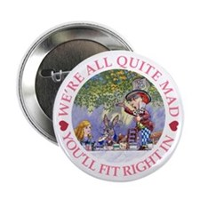 """MAD HATTER'S TEA PARTY 2.25"""" Button"""