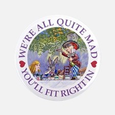 "MAD HATTER'S TEA PARTY 3.5"" Button"