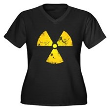 Distressed Radiation Symbol Women's Plus Size V-Ne