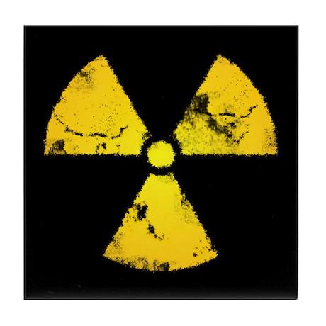 Distressed Radiation Symbol Tile Coaster