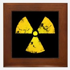 Distressed Radiation Symbol Framed Tile