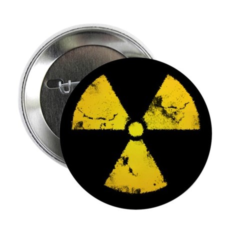 """Distressed Radiation Symbol 2.25"""" Button (10 pack)"""