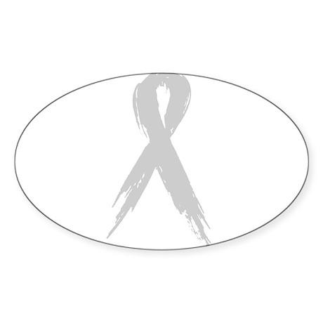Silver Ribbon Oval Sticker (10 pk)