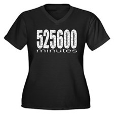 525600 Minutes Women's Plus Size V-Neck Dark T-Shi