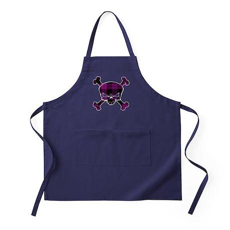 Pink Black Tartan Skull Apron (dark)