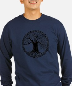 Celtic Wisdom Tree I.V. Long Sleeve NavyT-Shirt