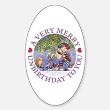 A VERY MERRY UNBIRTHDAY Oval Decal