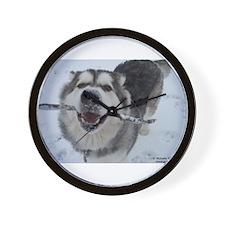 Cute Alaskan malamute Wall Clock
