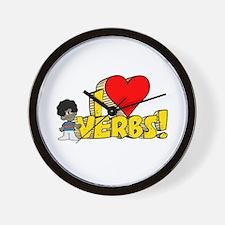 I Heart Verbs - Schoolhouse Rock! Wall Clock