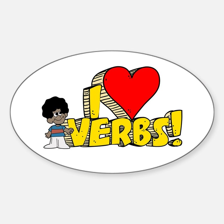 I Heart Verbs - Schoolhouse Rock! Oval Decal