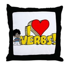 I Heart Verbs - Schoolhouse Rock! Throw Pillow