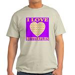 I Love Butterflies Heart Purp Ash Grey T-Shirt