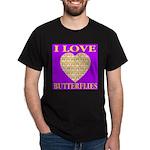 I Love Butterflies Heart Purp Black T-Shirt