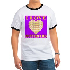 I Love Butterflies Heart Purp T