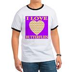 I Love Butterflies Heart Purp Ringer T