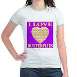 I Love Butterflies Heart Purp Jr. Ringer T-Shirt