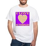 I Love Butterflies Heart Purp White T-Shirt