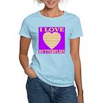 I Love Butterflies Heart Purp Women's Pink T-Shirt