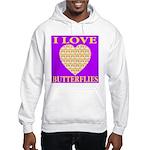 I Love Butterflies Heart Purp Hooded Sweatshirt