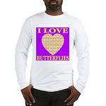 I Love Butterflies Heart Purp Long Sleeve T-Shirt