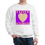 I Love Butterflies Heart Purp Sweatshirt