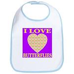 I Love Butterflies Heart Purp Bib